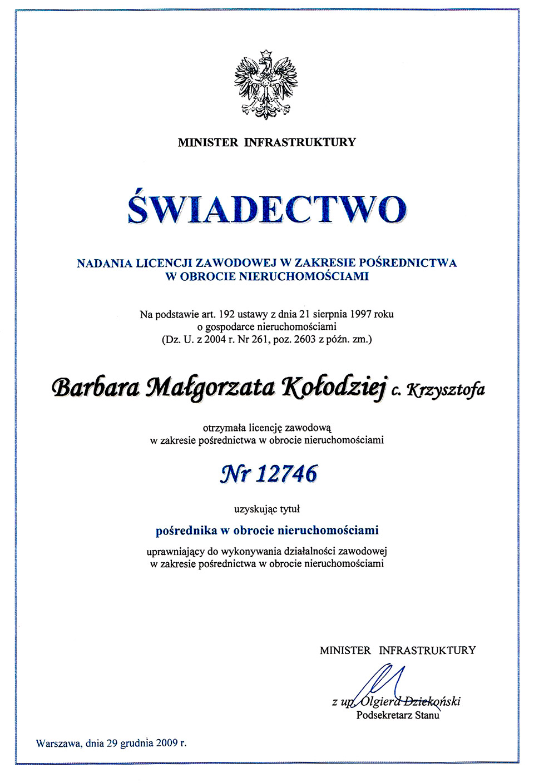 Licencja zawodowa - Barbara Kołodziej