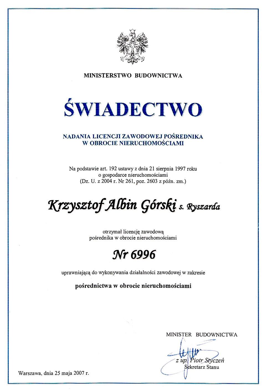 Licencja zawodowa - Krzysztof Górski