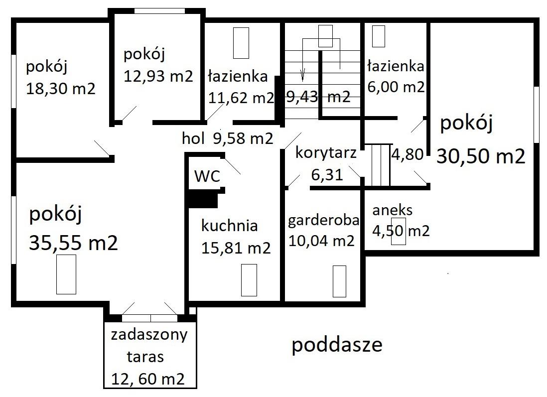 rozkład poddasza - Nieruchomości Krzysztof Górski Zamość, biuro nieruchomości, domy, mieszkania, działki, lokale, sprzedaż nieruchomości, wynajem nieruchomości